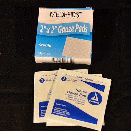 "Sterile 2"" x 2"" gauze pad 10 ct."